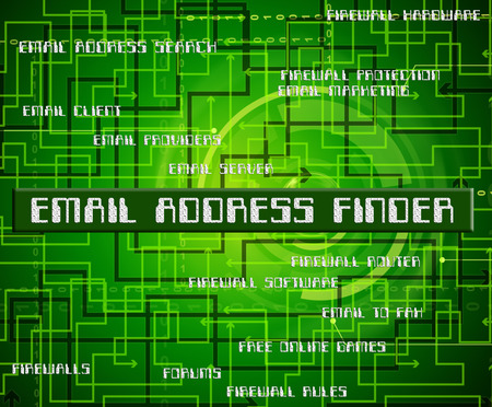finders: Email Address Finder Meaning Search Out And Text Stock Photo