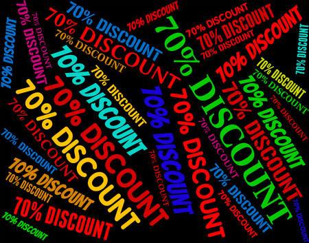selling off: Seventy Percent Off Indicating Text Selling And Consumerism Stock Photo