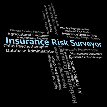 risky job: Insurance Risk Surveyor Indicating Risks Insured And Contracts Stock Photo