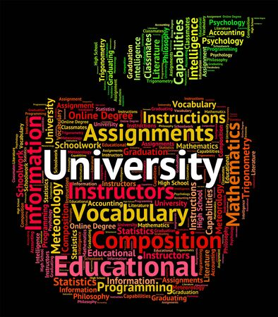 university word: University Word Indicating Educational Establishment And Varsity Stock Photo