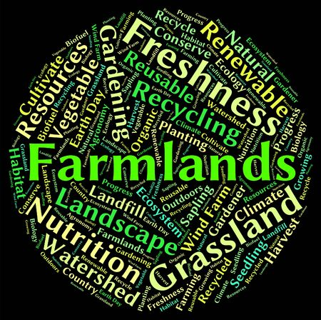 farmlands: Farmlands Word Showing Farms Agriculture And Words Stock Photo