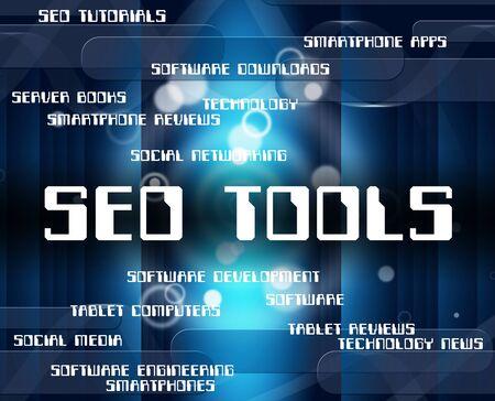 optimizing: Seo Tools Representing Machine Optimizing And Engine