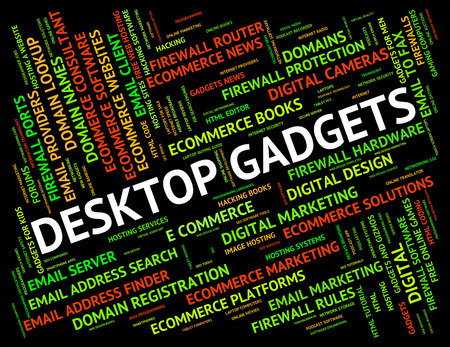 mod: Desktop Gadgets Indicating Mod Con And Widgets Stock Photo