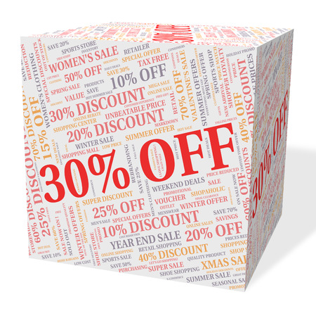 thirty percent off: Thirty Percent Off Showing Discount Text And Retail Stock Photo