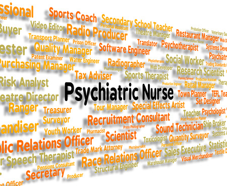 matron: Psychiatric Nurse Showing Nervous Breakdown And Jobs Stock Photo