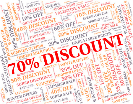 seventy: Seventy Percent Off Indicating Discount Promotional And Reduction