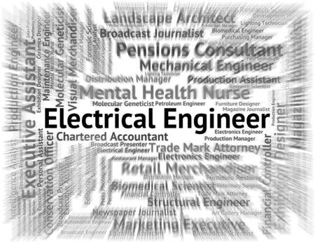 ingenieur electricien: Ing�nieur �lectrique indiquant Professions m�canicien et Position Banque d'images