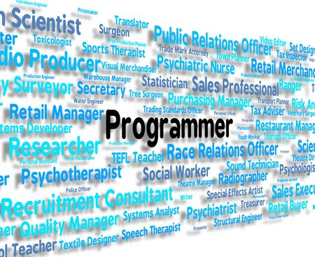 programmers: Programmer Job Representing Software Engineer And Career Stock Photo