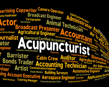 acupuncturist: Acupuncturist Job Representing Occupation Employee And Work Stock Photo