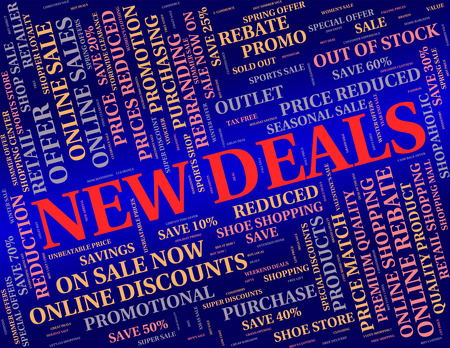 the latest: New Deals Showing Latest Products And Dealings Stock Photo