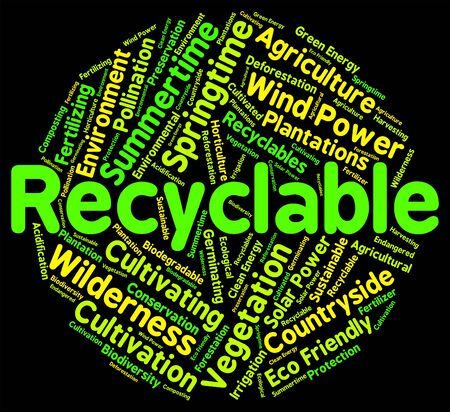 earth friendly: Recyclable Word Representing Earth Friendly And Recycled