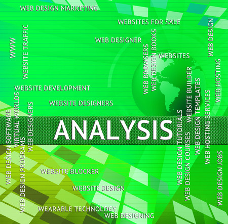 investigates: Analysis Word Meaning Data Analytics And Investigates Stock Photo