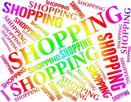 merchandiser: Shopping Word Representing Retail Sales And Customer