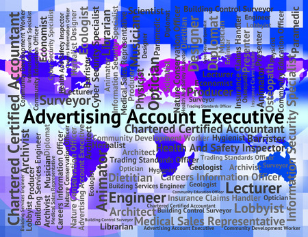 account executive: Advertising Account Executive Indicating Managing Director And Adverts Stock Photo