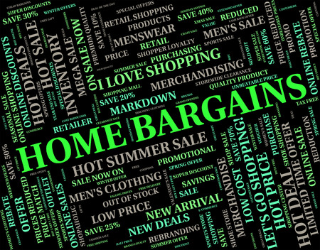 bargains: Home Bargains Indicating Save Text And Houses Stock Photo