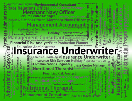 surety: Insurance Underwriter Indicating Coverage Underwrites And Contracts Stock Photo