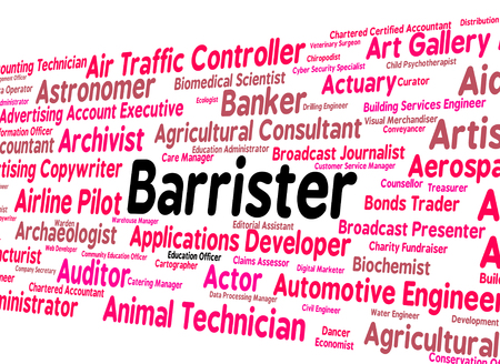 barrister: Barrister Job Indicating Counselor Occupation And Lawyer