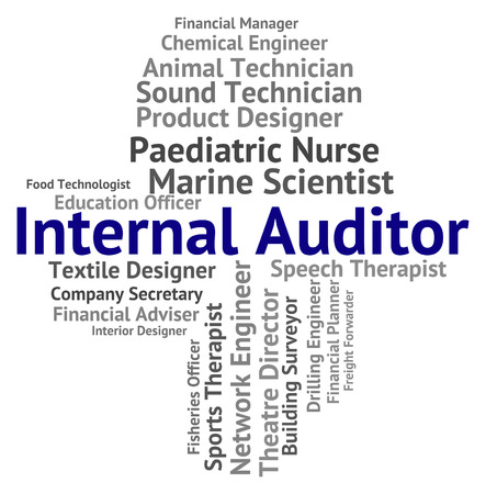 auditors: Internal Auditor Showing Inner Words And Actuary