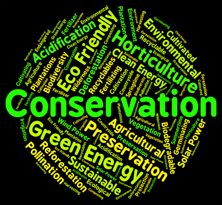 environmentally: Conservation Word Representing Eco Friendly And Environmentally Stock Photo