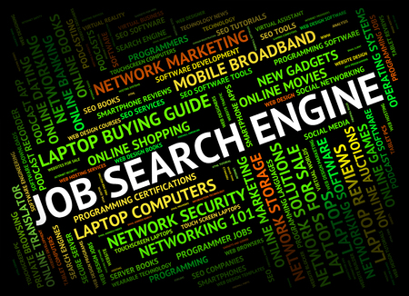 job engine: Job Search Engine Showing Gathering Data And Career Stock Photo