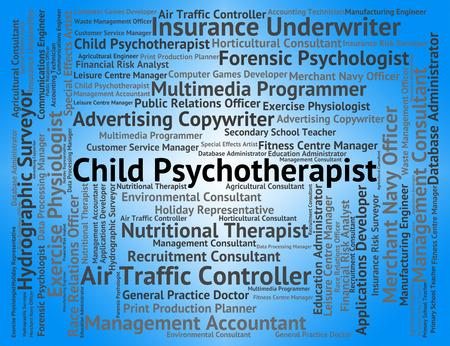trastorno: Psicoterapeuta Infantil Representando Trastorno Emocional Y Palabra