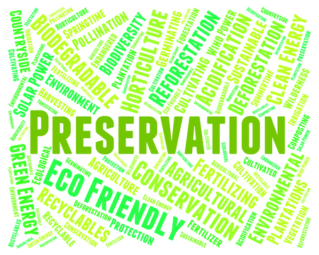 Preservation Word Showing Earth Friendly And Planet