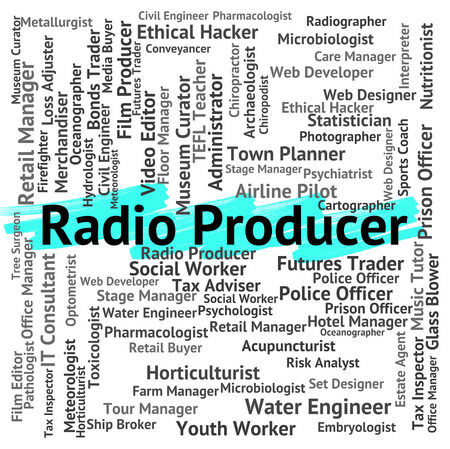 radiography: Radio Producer Showing Words Radiography And Work Stock Photo
