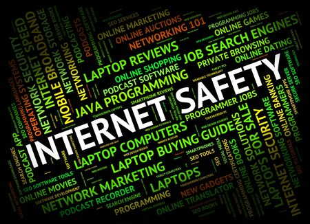 beware: Internet Safety Indicating World Wide Web And Beware Hazard Stock Photo