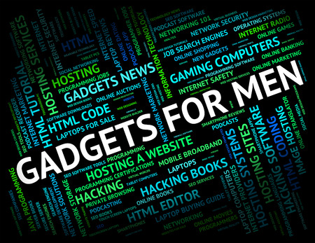 mod: Gadgets For Men Representing Mod Con And Tool Stock Photo