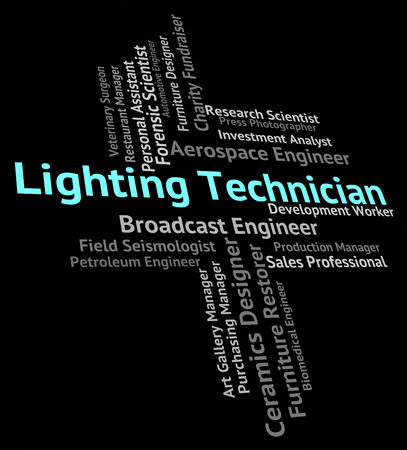 hábil: Lighting Technician Representing Skilled Worker And Maker Banco de Imagens