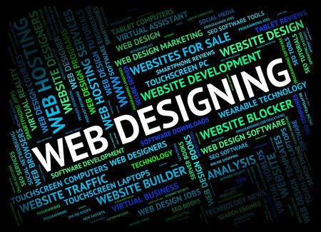 web designing: Web Designing Showing Designed Websites And Internet Stock Photo