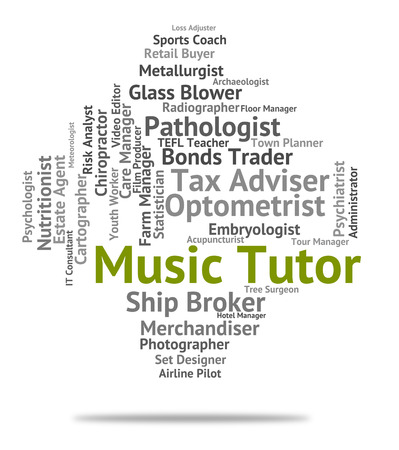 tutor: Music Tutor Meaning Sound Track And Word Stock Photo