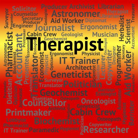 occupations: Therapist Job Representing Recruitment Therapies And Occupations Stock Photo