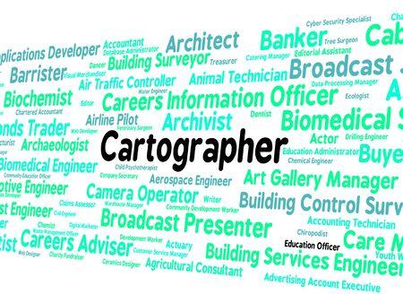 topógrafo: Trabajo Cartógrafo Indicando Agrimensor Y de coches