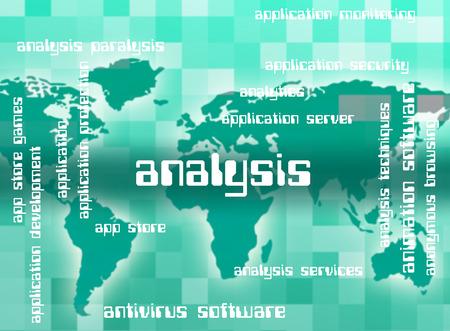 investigates: Analysis Word Representing Data Analytics And Investigate Stock Photo