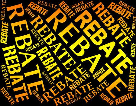 rebates: Rebate Word Showing Partial Refund And Text