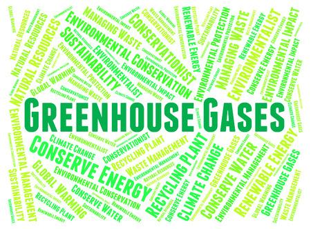 dioxido de carbono: Gases de Efecto Invernadero Significado dióxido de carbono y Palabras Foto de archivo