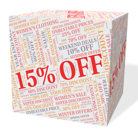 bargains: Fifteen Percent Off Indicating Bargains Text And Offer Stock Photo