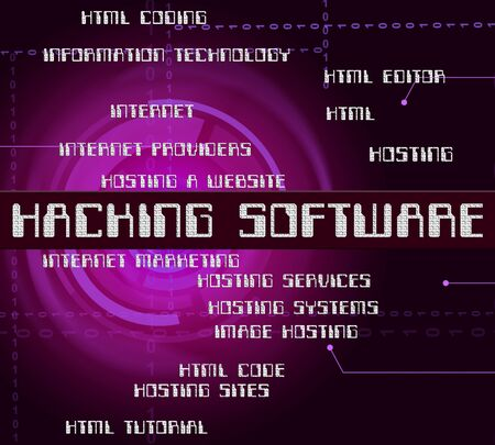 shareware: Hacking Software Showing Security Threat And Programming