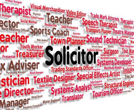 solicitor: Solicitor Job Showing Legal Executive And Attorney Stock Photo