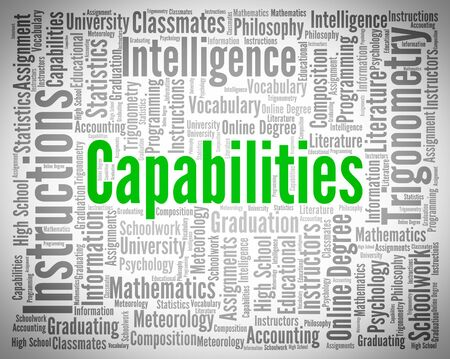 adeptness: Capabilities Word Showing Ability Skills And Skill Stock Photo