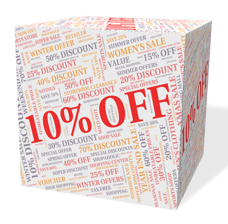 bargains: Ten Percent Off Showing Discount Reduction And Bargains