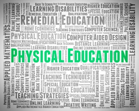 physical education: Physical Education Representing Gym Class And Word Stock Photo