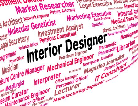 interior designer: Interior Designer Showing Text Designers And Decoration