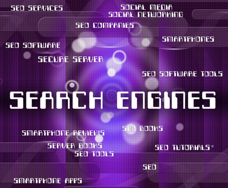search engines: Search Engines Indicating Gathering Data And Searching Stock Photo