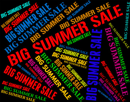 midsummer: Big Summer Sale Meaning Hot Weather And Midsummer Stock Photo