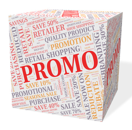 promo: Promo Cube Indicating Merchandise Sale And Offer