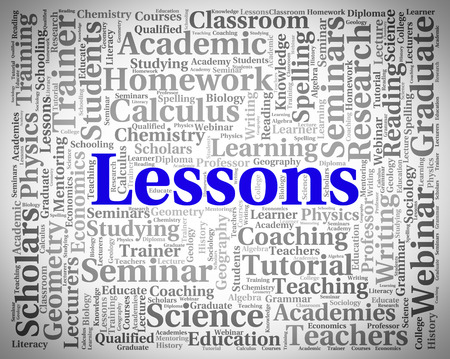 lessons: Lessons Word Meaning Sessions Seminar And Words Stock Photo