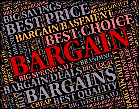 bargain: Bargain Word Showing Text Sales And Retail
