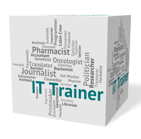 tecnolog�a informatica: Information Technology Indicating It Trainer And Words Foto de archivo